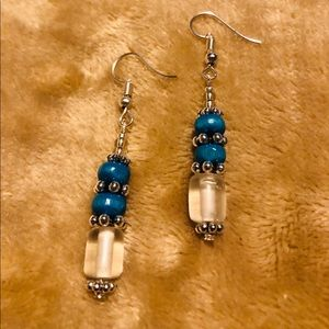 Artisan Blue & Silver Fishhook Earrings